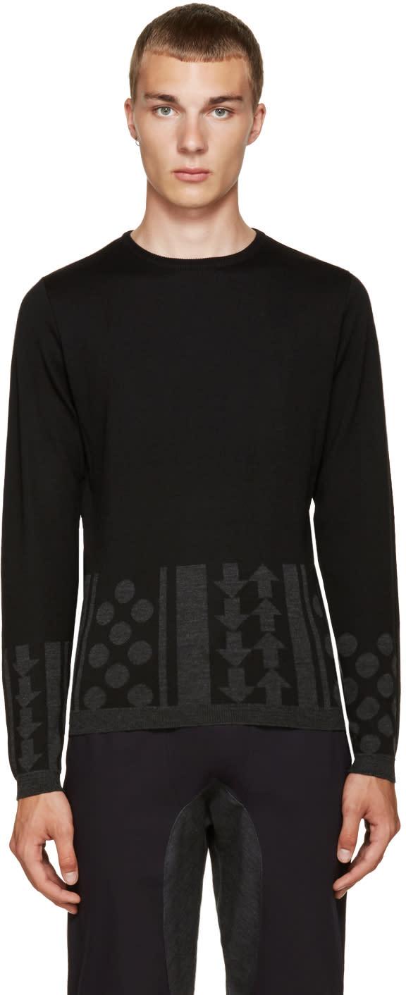 Image of Kolor Black Intarsia Sweater