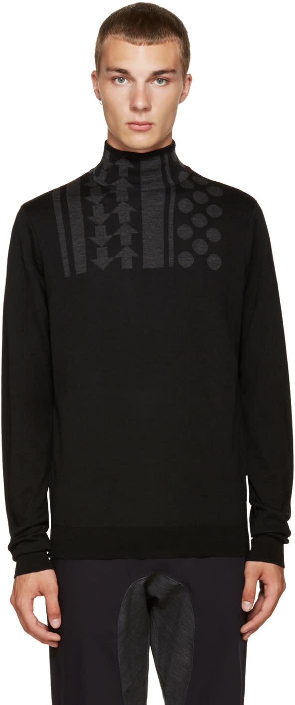Kolor Black Wool Intarsia Turtleneck