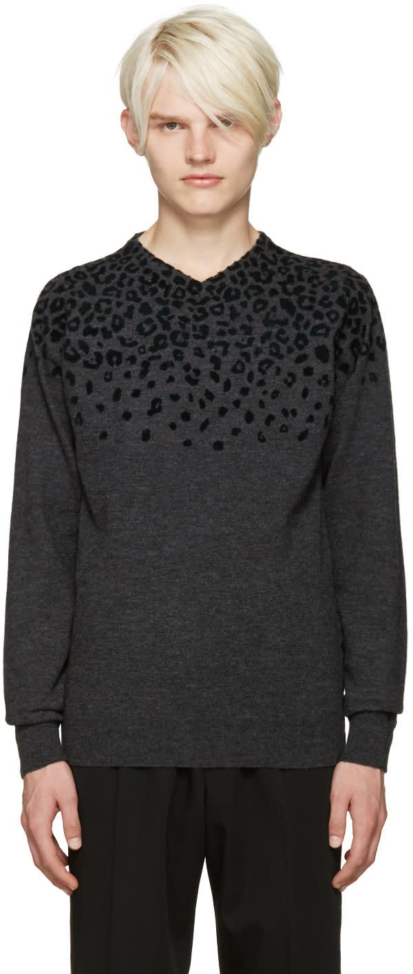 Kolor Grey Leopard Print Sweater