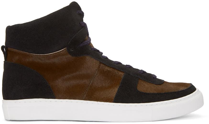 Kolor Brown Calf-hair High-top Sneakers
