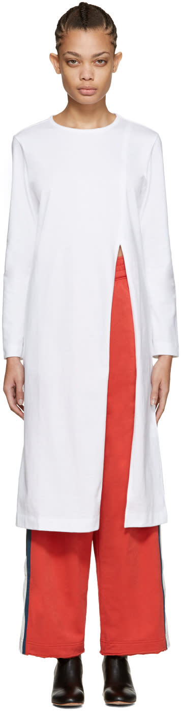 Facetasm White Long Slit T-shirt