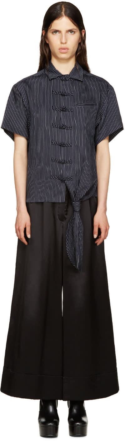 Facetasm Black Pinstripe Shirt