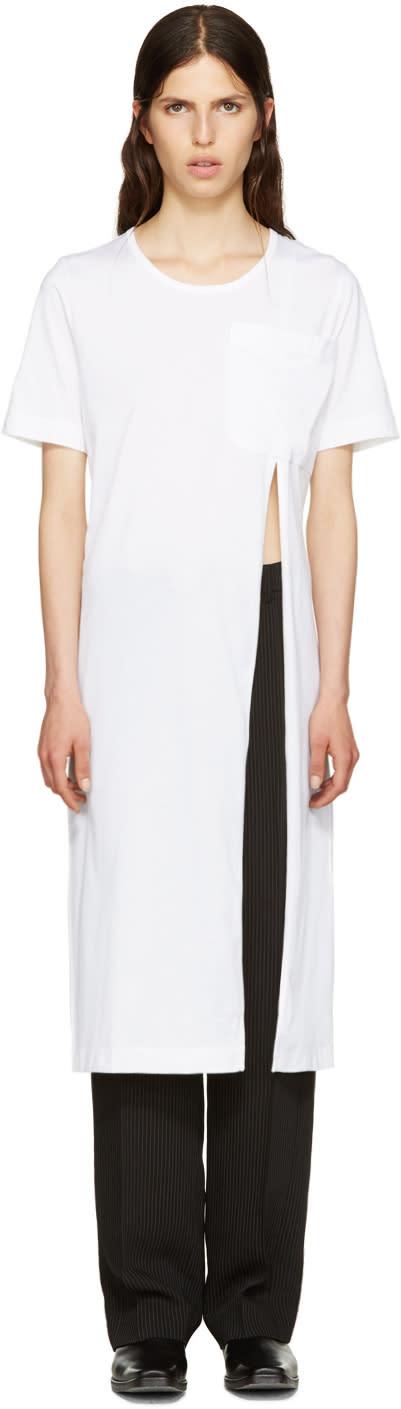 Facetasm White Slit T-shirt Dress