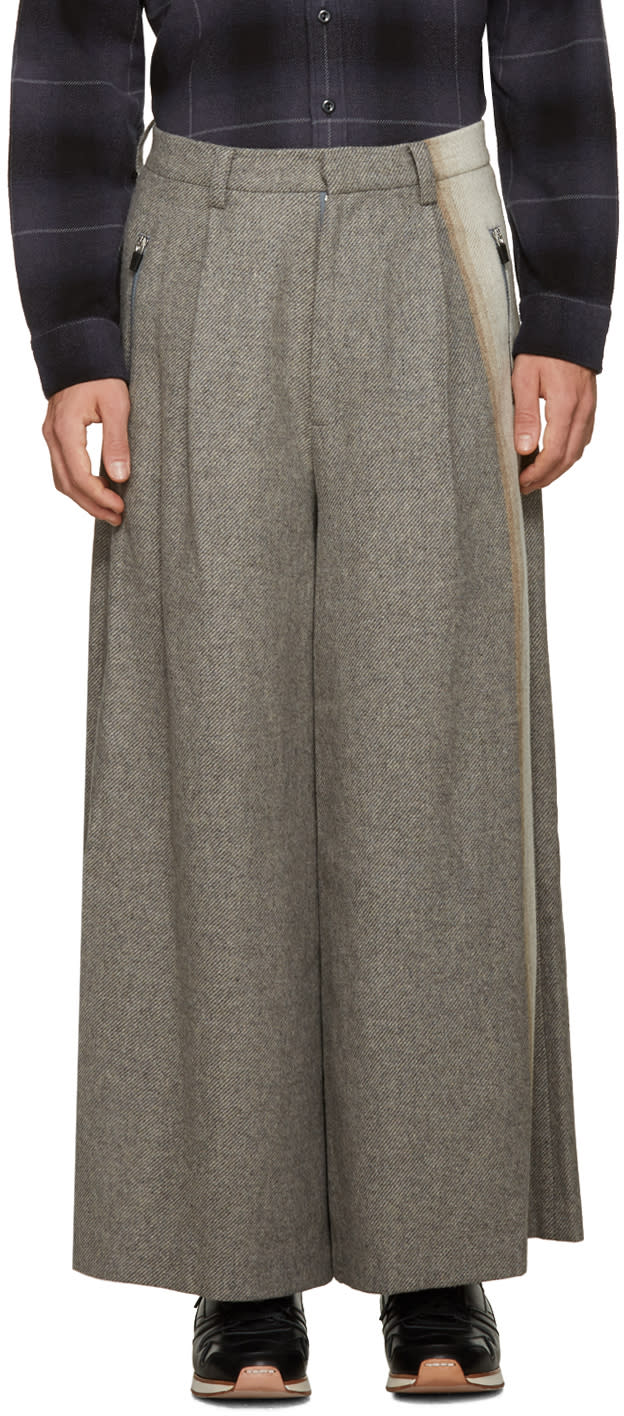 Image of Facetasm Grey Wool Wide-leg Trousers