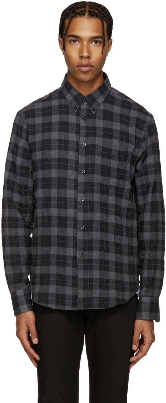 Naked and Famous Denim Grey Plaid Flannel Shirt