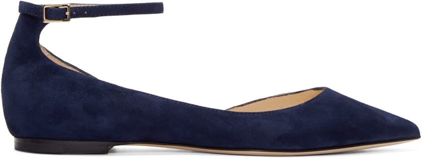Jimmy Choo Navy Suede Lucy Flats