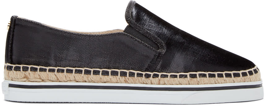 Jimmy Choo Black Canvas Dawn Espadrilles