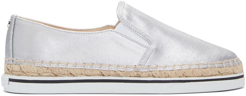 Jimmy Choo Silver Canvas Dawn Espadrilles