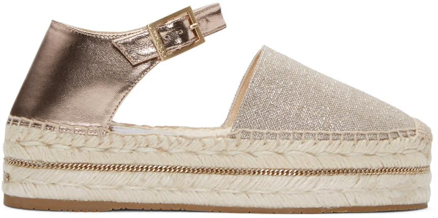 Jimmy Choo Beige Metallic Canvas Delfine Espadrilles