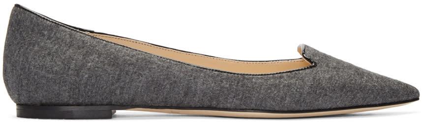 Jimmy Choo Grey Flannel Atilla Flats