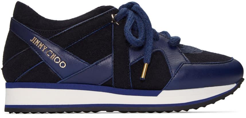 Jimmy Choo Navy Felted London Sneakers