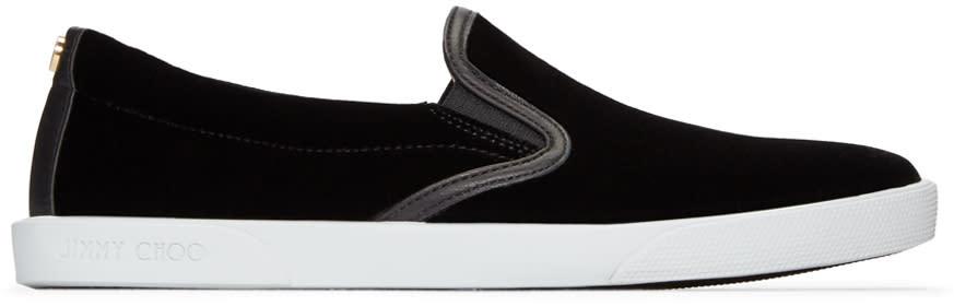 Jimmy Choo Black Velvet Demi Slip-on Sneakers