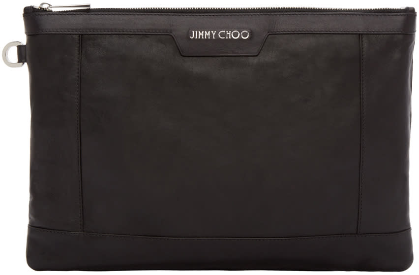Jimmy Choo Black Leather Derek Pouch