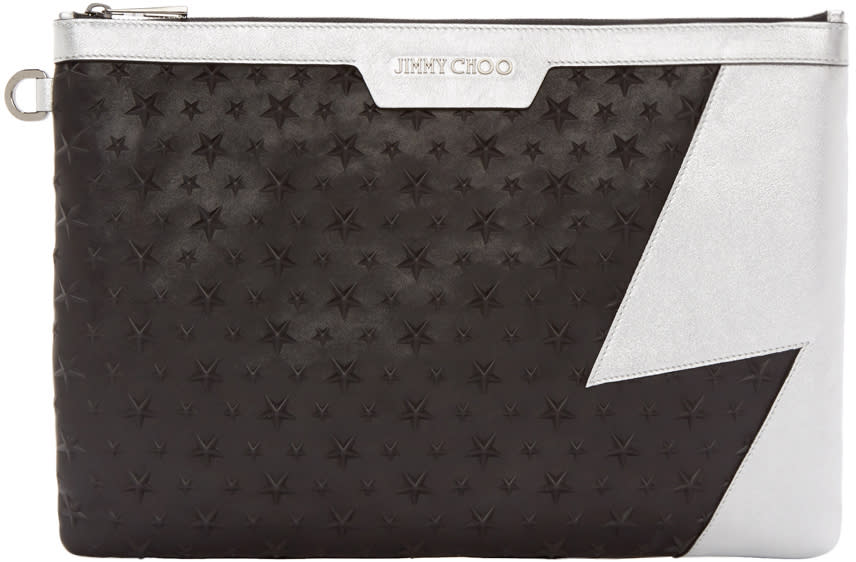 Jimmy Choo Black and Silver Derek Pouch