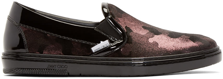 Jimmy Choo Black and Pink Camouflage Grove Sneakers