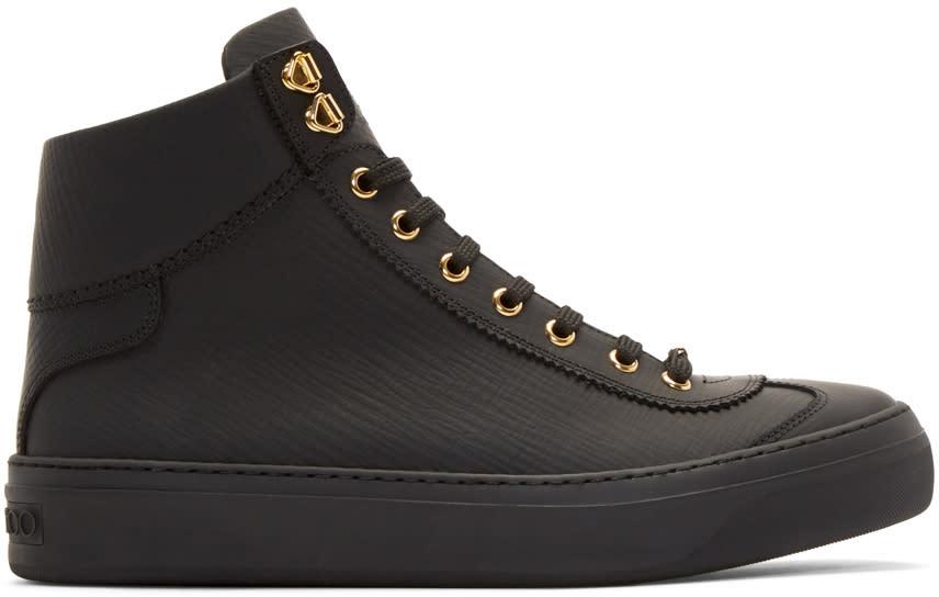 Jimmy Choo Black Matte Argyle High-top Sneakers