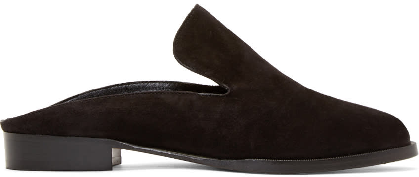 Robert Clergerie Black Suede Alice Loafers