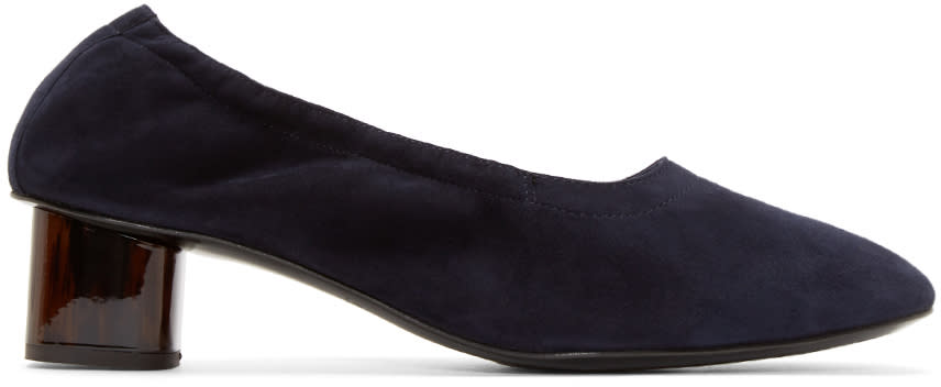 Robert Clergerie Navy Suede Pocket Heels