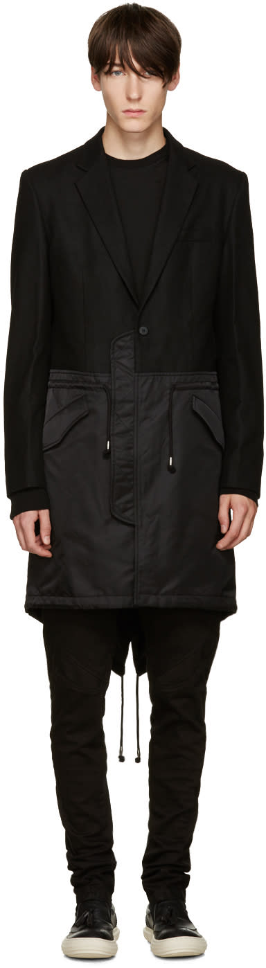 D.gnak By Kang.d Black Mixed Fishtail Coat