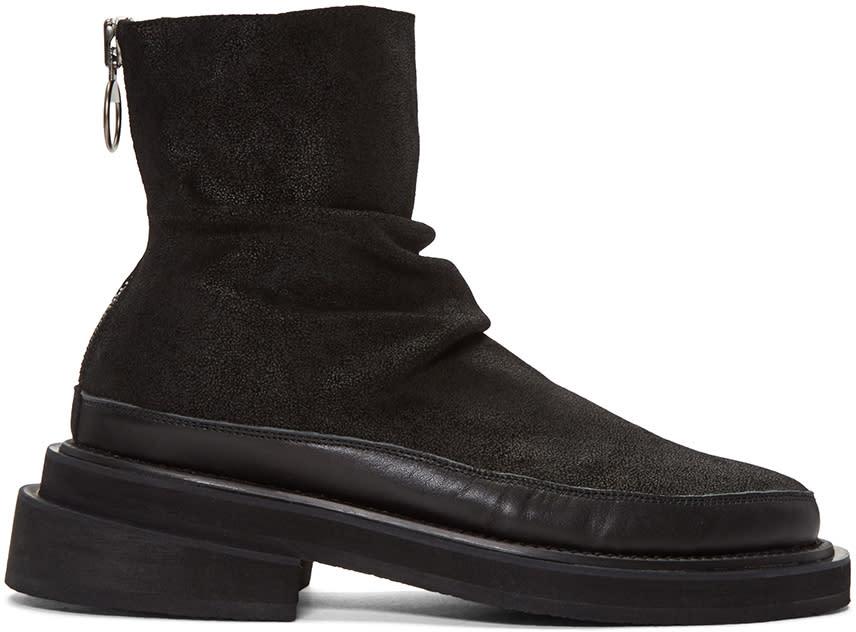 D.gnak By Kang.d Black Nubuck Zip Boots