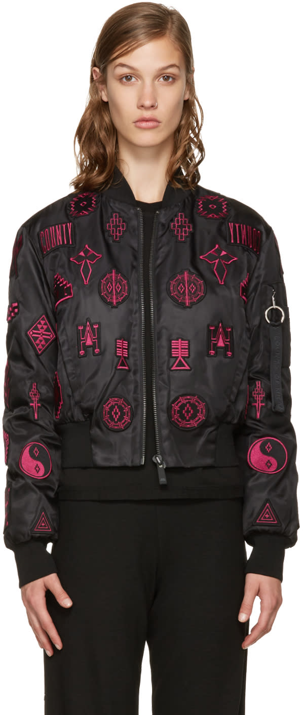 Marcelo Burlon County Of Milan Black Patch Bomber Jacket