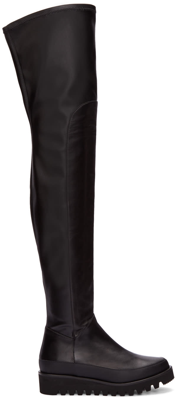 Marcelo Burlon County Of Milan Black Leather Over-the-knee Boots