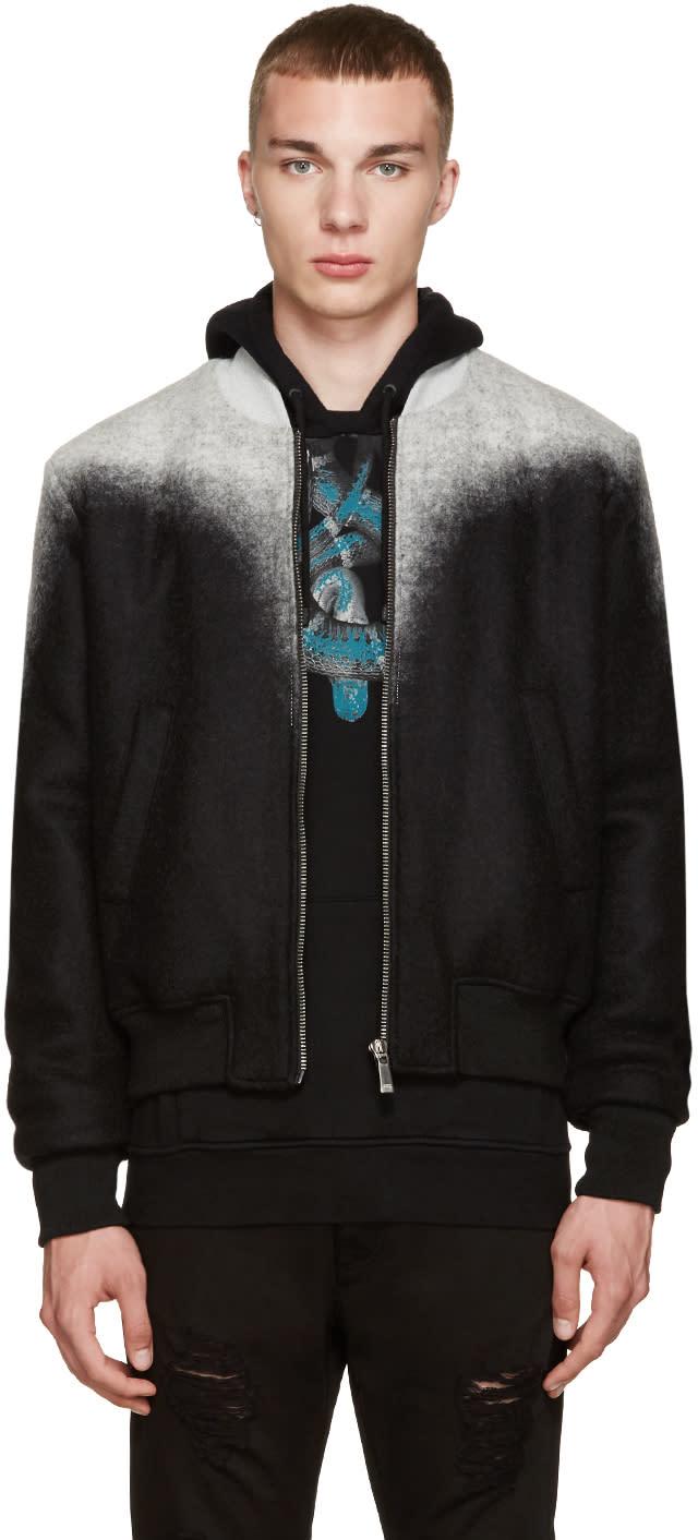 Marcelo Burlon County Of Milan Black and Grey Zapaleri Bomber Jacket