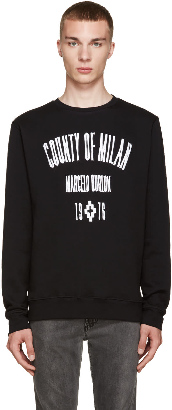 Marcelo Burlon County Of Milan Black Capurata Crew Sweatshirt