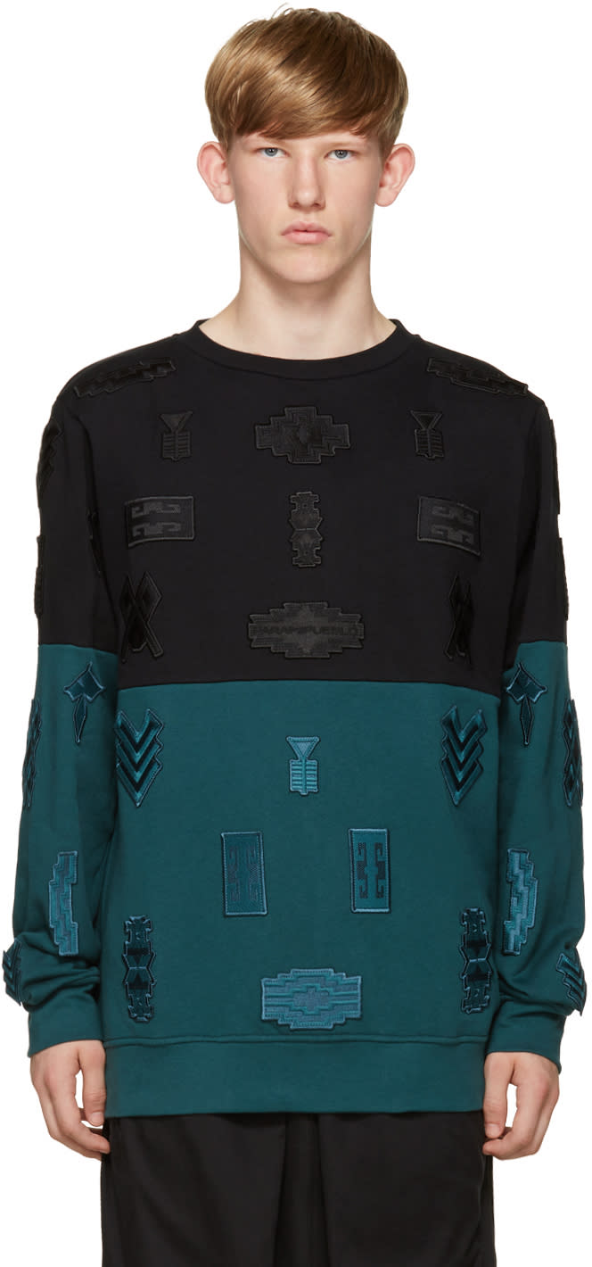 Marcelo Burlon County Of Milan Black and Turquoise Embroidered Ollague Pullover