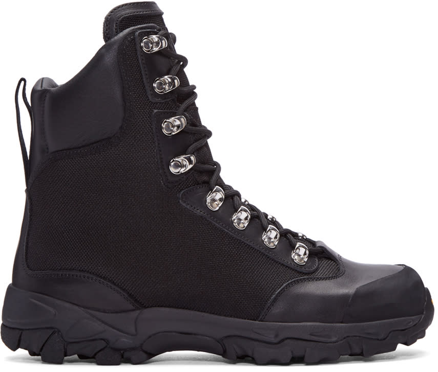 Marcelo Burlon County Of Milan Black Hiking Combat Boots