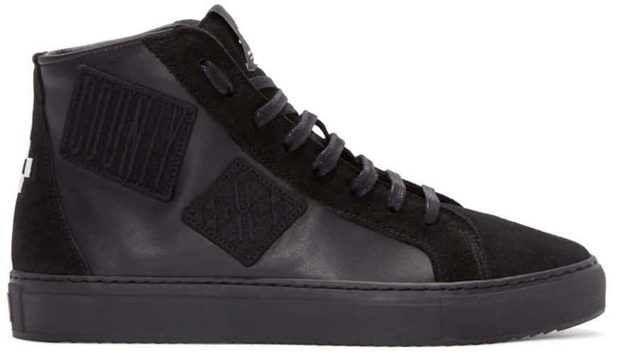 Marcelo Burlon County Of Milan Black Patch High-top Sneakers