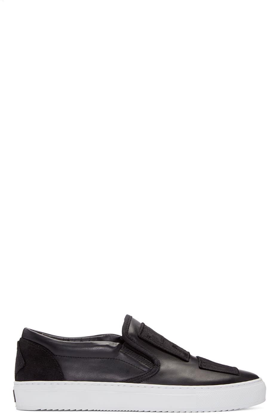 Marcelo Burlon County Of Milan Black Patch Slip-on Sneakers