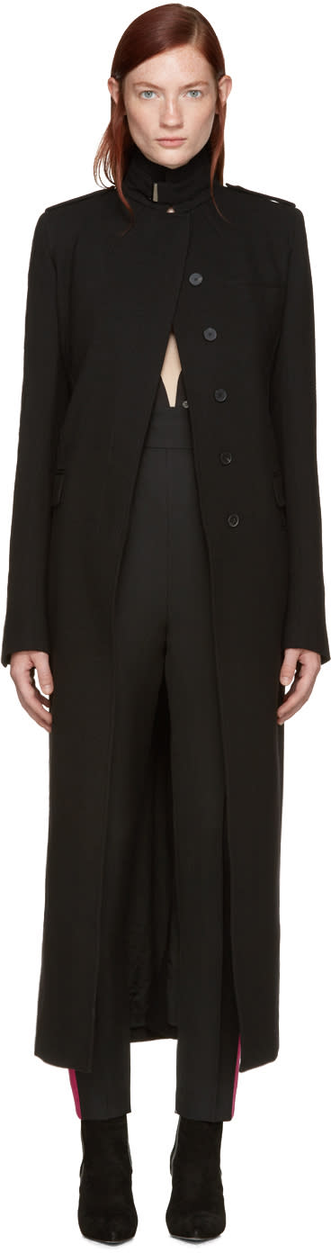 Haider Ackermann Black Long Military Coat