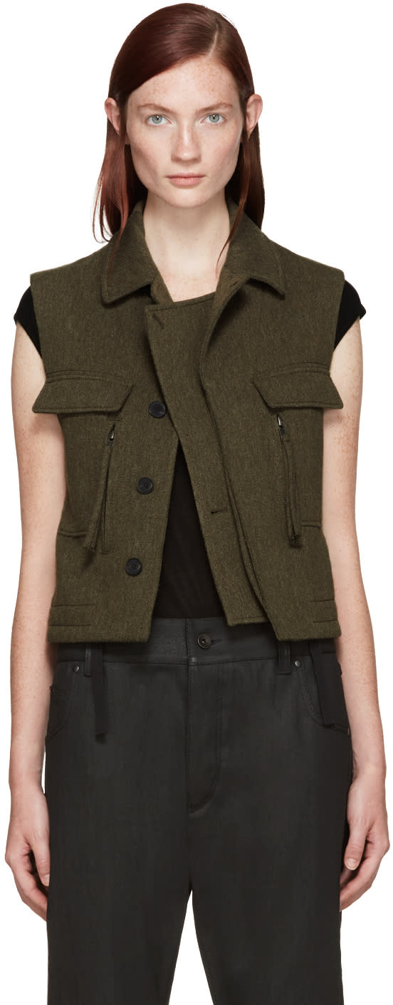 Haider Ackermann Khaki Wool Vest
