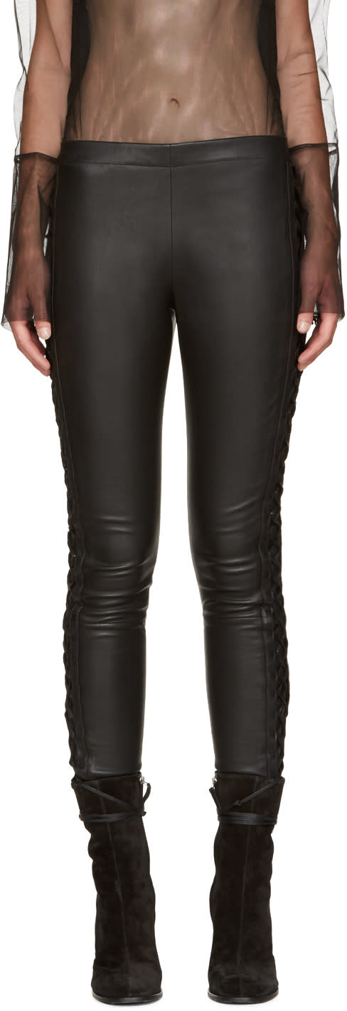 Haider Ackermann Black Leather Lace-up Trousers