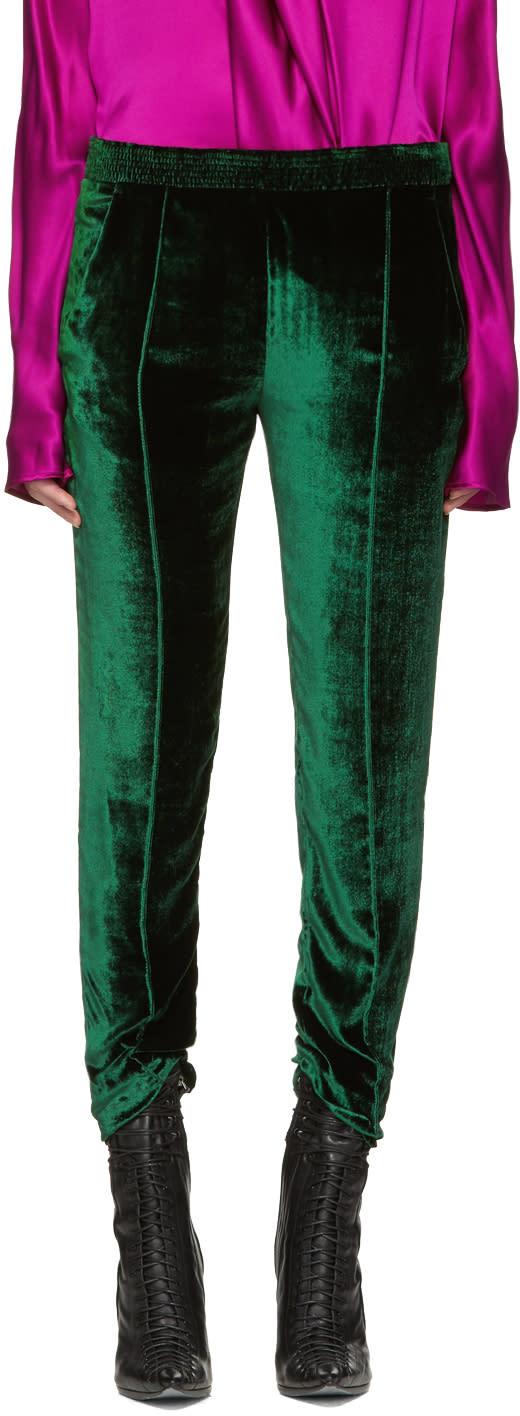 Haider Ackermann Green Velvet Trousers