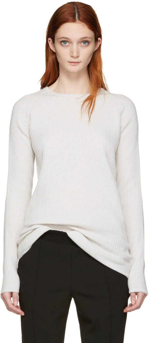 Haider Ackermann Off-white Ribbed Crewneck Sweater