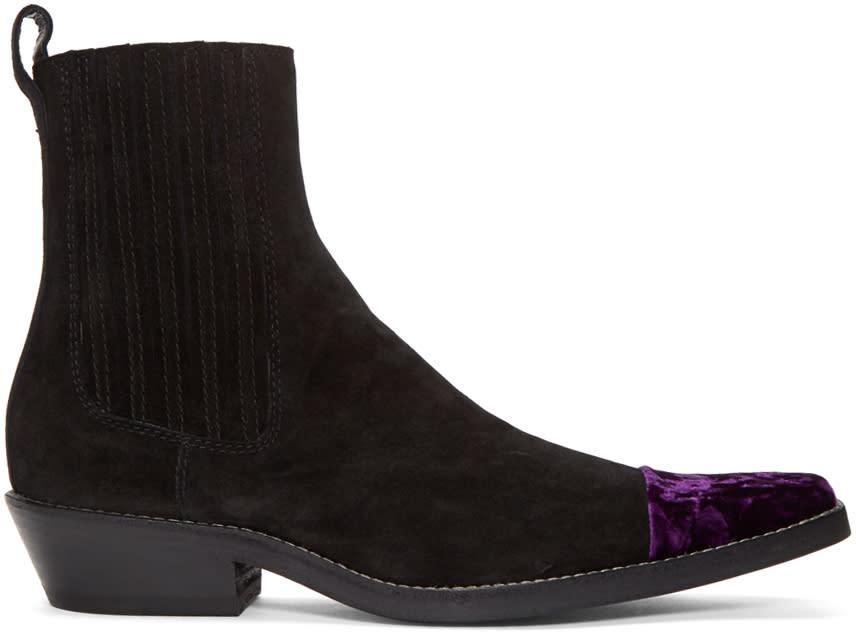 Haider Ackermann Black Velvet Cap Toe Boots