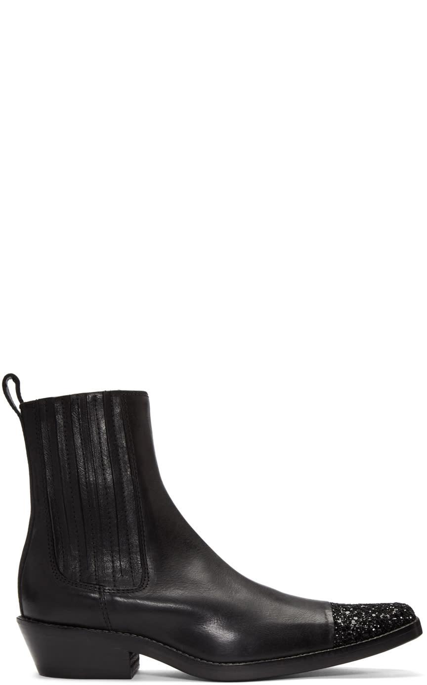 Haider Ackermann Black Glitter Cap Toe Boots