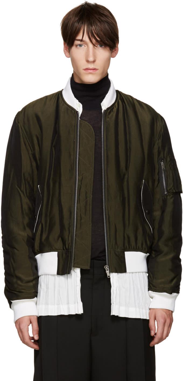 Haider Ackermann Green Padded Bomber Jacket
