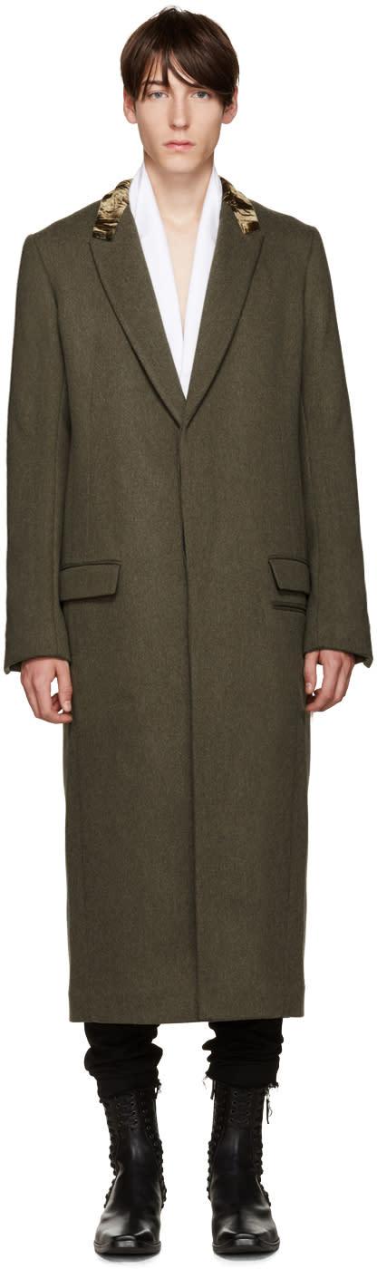 Haider Ackermann Khaki Velvet Collar Coat