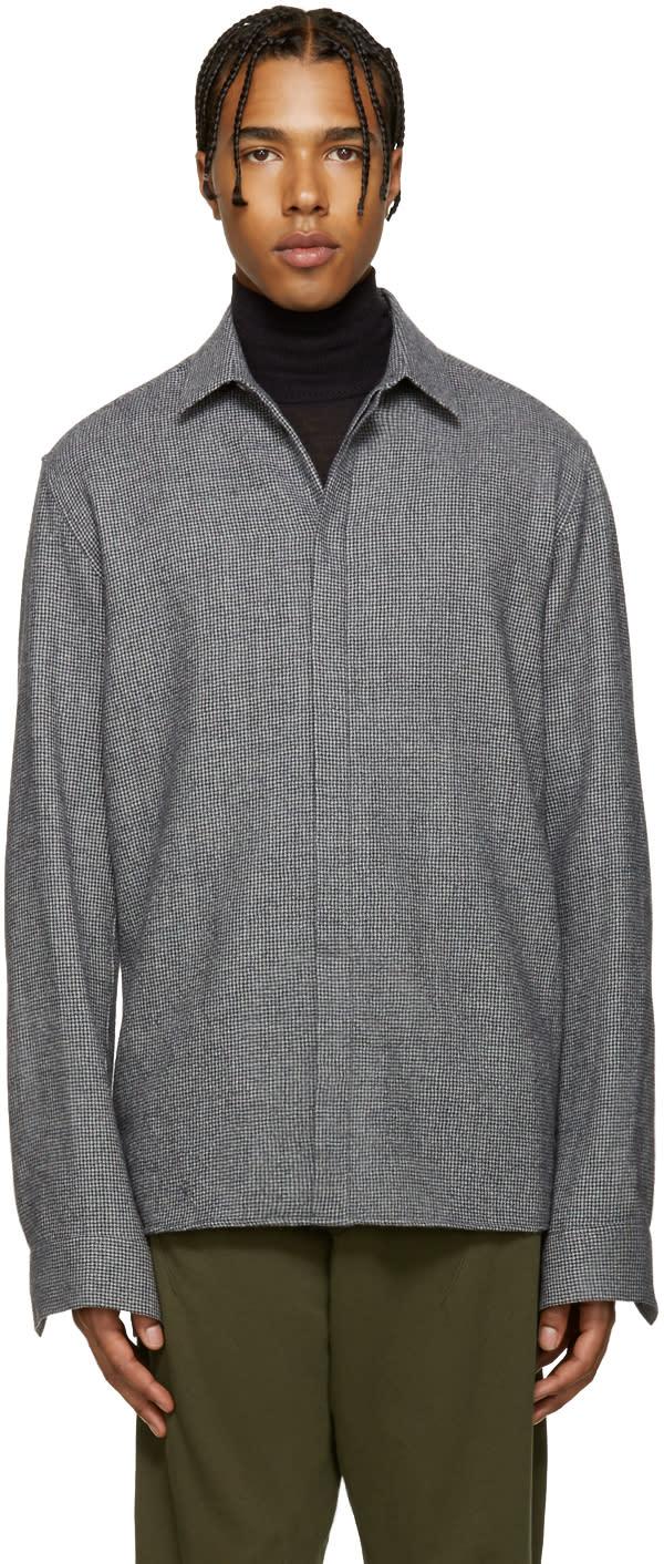 Haider Ackermann Grey Wool Houndstooth Shirt