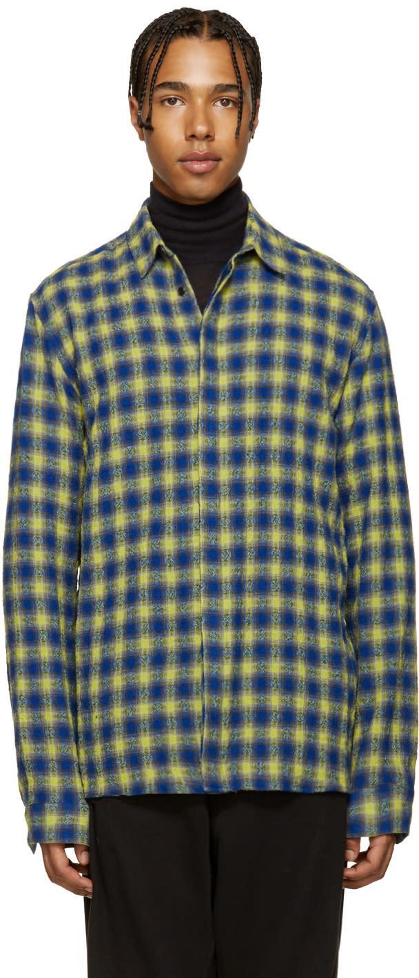 Haider Ackermann Blue and Yellow Check Shirt
