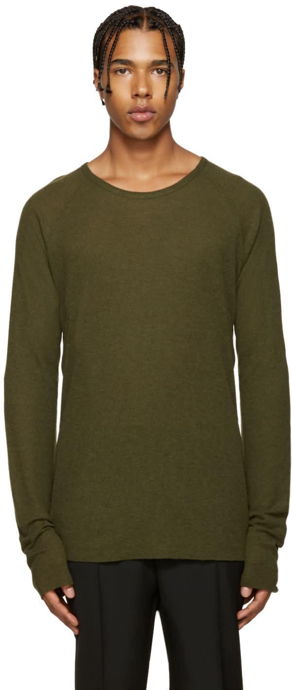 Haider Ackermann Green Ribbed T-shirt
