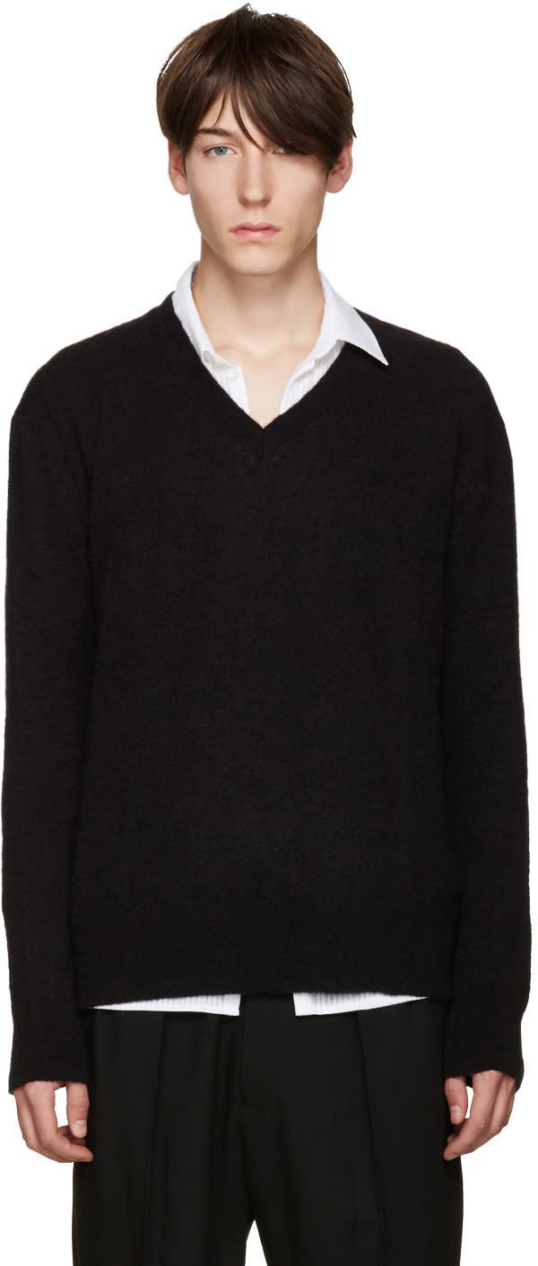 Haider Ackermann Black Mohair V-neck Sweater