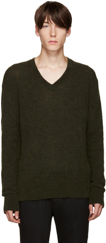 Haider Ackermann Green Mohair Sweater