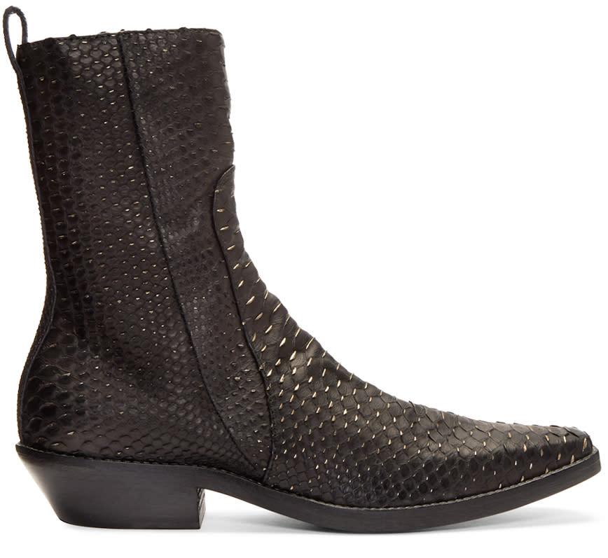Haider Ackermann Black Python Boots