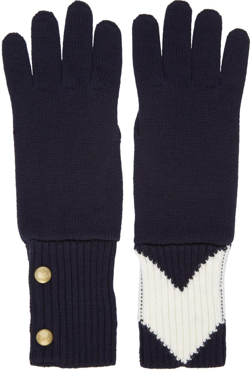 Moncler Gamme Bleu Navy Contrasting Gloves