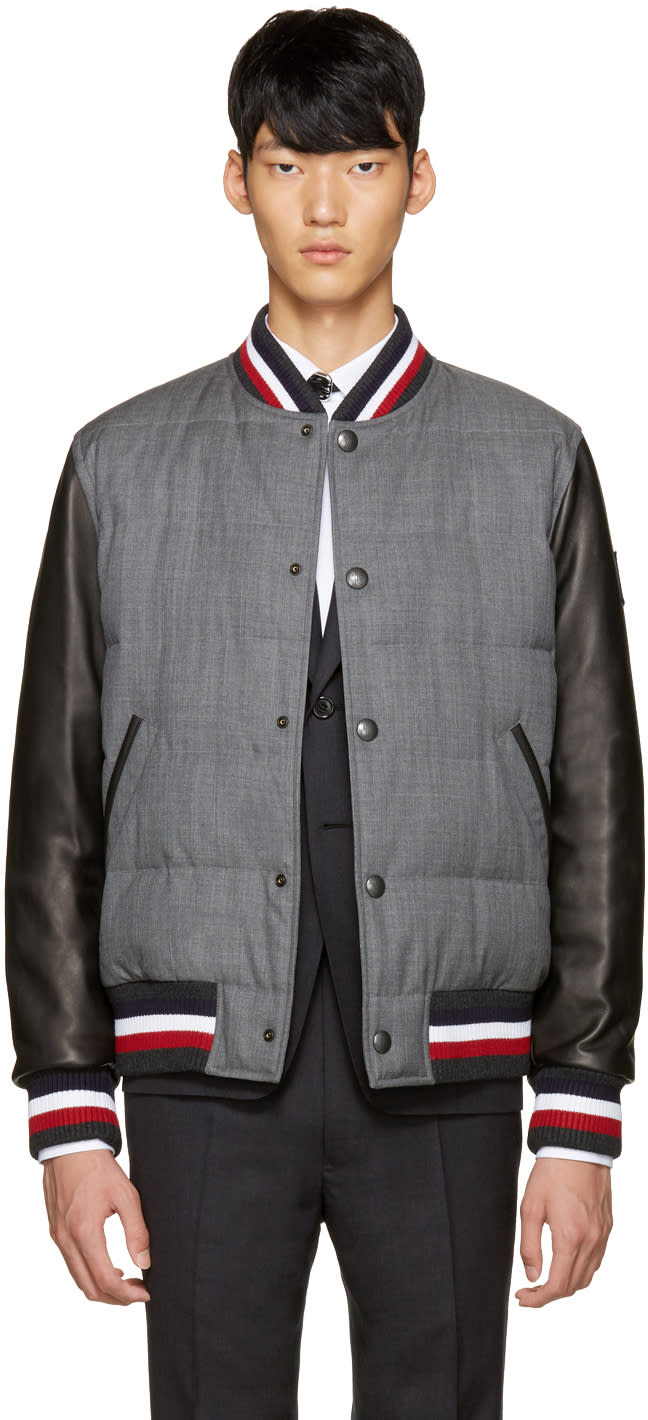 Moncler Gamme Bleu Grey Leather Sleeve Bomber Jacket