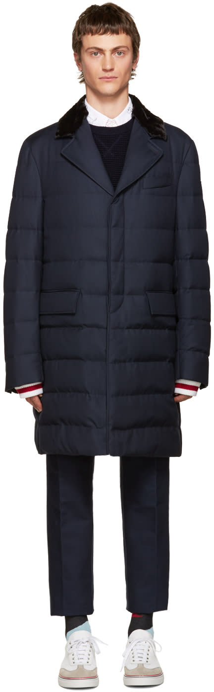 Moncler Gamme Bleu Blue Fur-trimmed Down Jacket